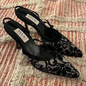 Black white ISAAC Isaac Mizarhi Slingback Heels 7B